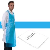 Apron Polythene Blue Flat Pack - Pack 100