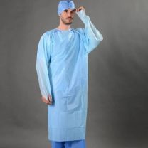 Blue Disposable Isolation Gowns, Liquid Repellent 117 x 193cm - PACK of 10